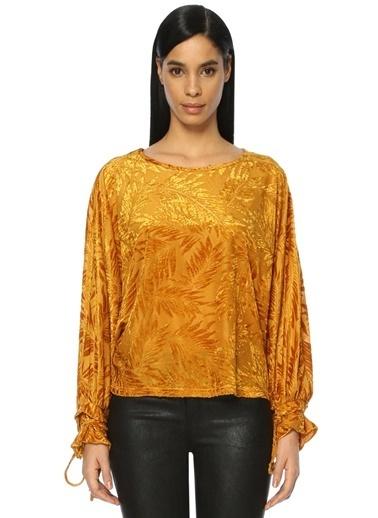 Ghospell Kadife Çiçek Nakışlı Bluz Sarı